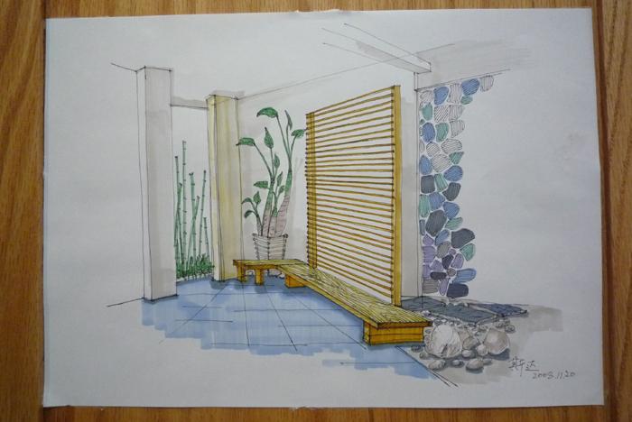 室内休闲设计手绘图