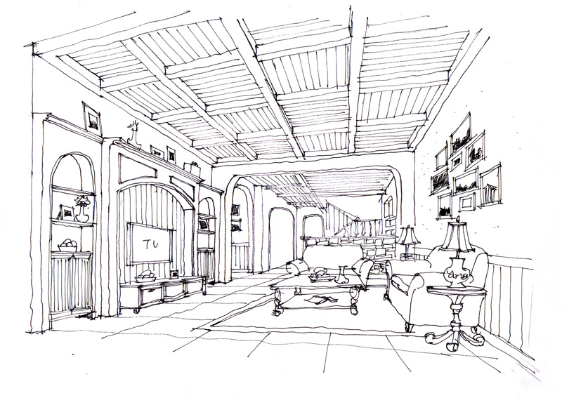 两点透视欧式客厅手绘图