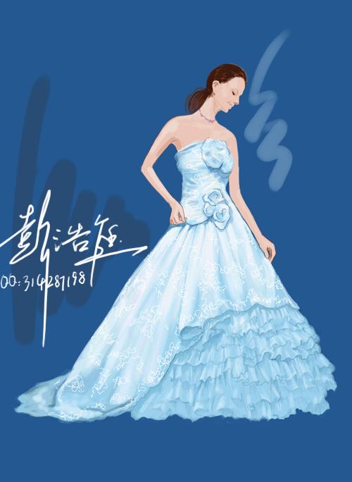 婚纱手绘效果图设计稿