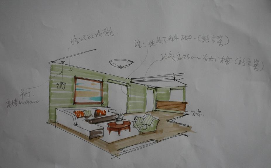 手绘图之客厅沙发