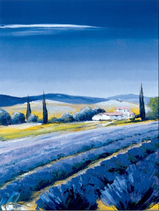 油画的天空是渐变的蓝色