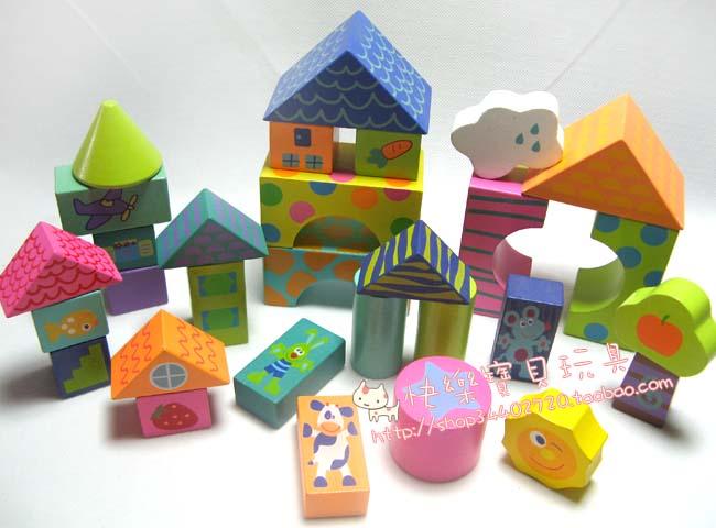 大颗粒彩色印图案搭房子积木
