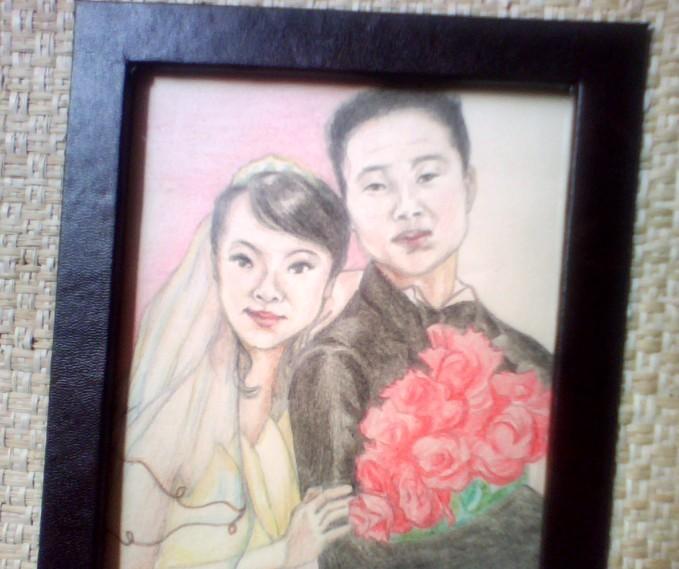 纯艺术*手绘婚纱照或肖像*手工绘画可个性定制--完美