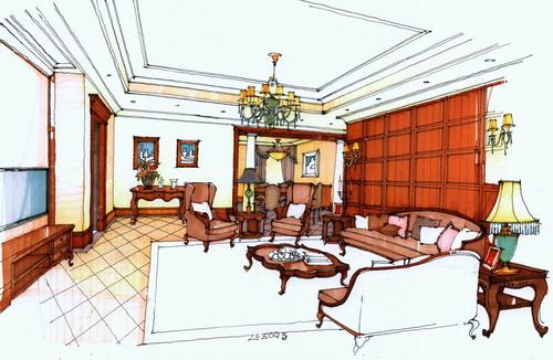 欧式客厅加餐厅的手绘图