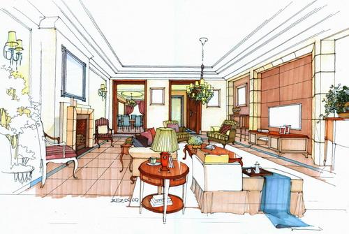 东方润园精美室内手绘图