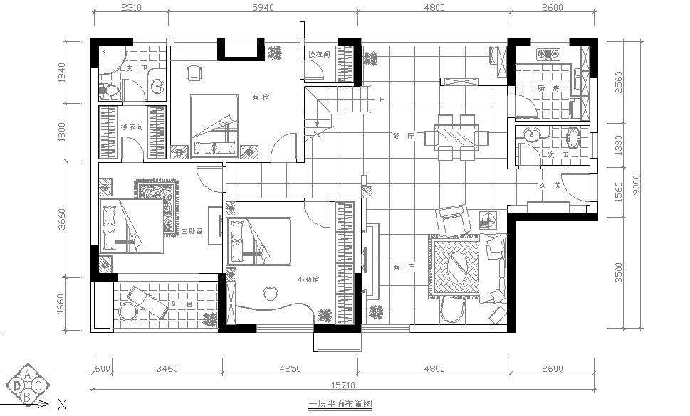 刘耀成设计作品:阳光100欧式复式楼-一层平面图