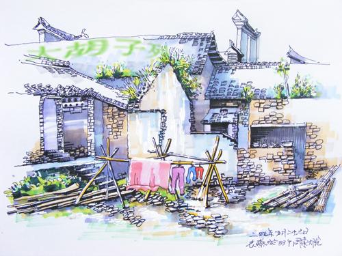 手绘风景图片庭院