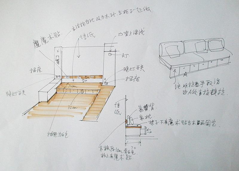 书房立面图手绘线稿