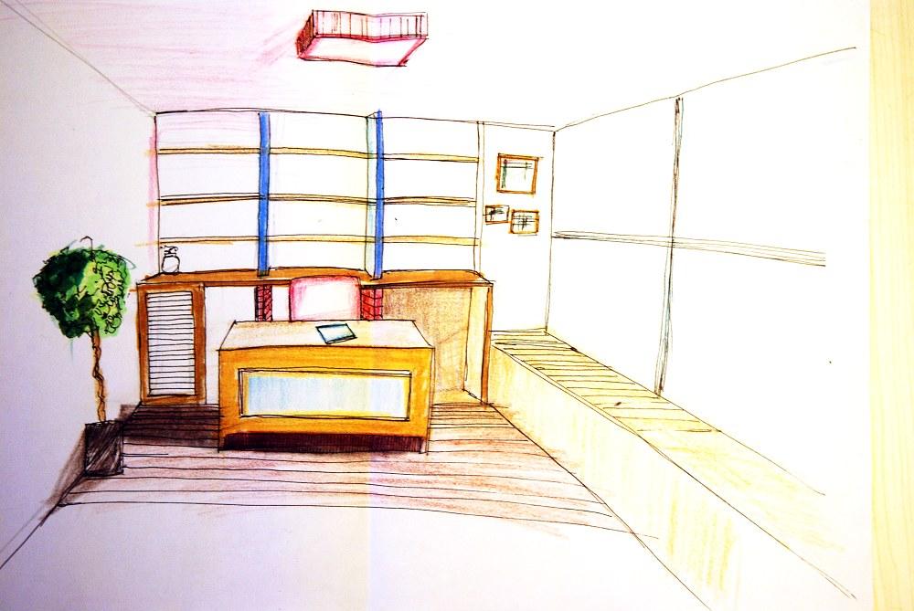 书房榻榻米手绘图