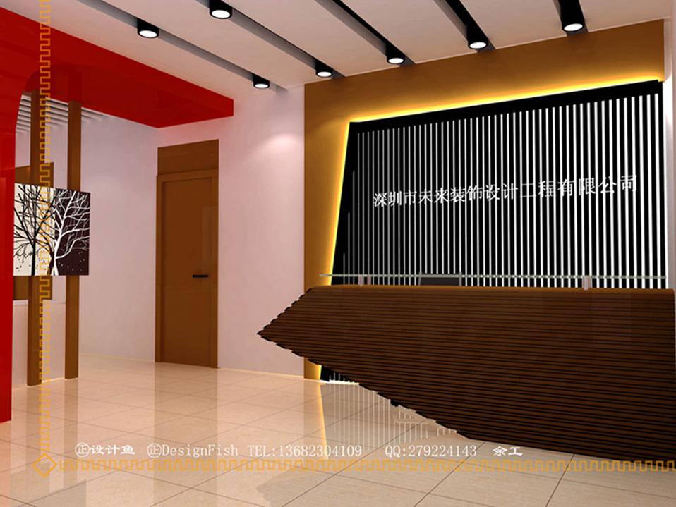 大堂大厅前台背景前台桌展览展示效果图
