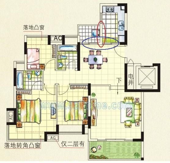 跃式三房两厅求装修设计图