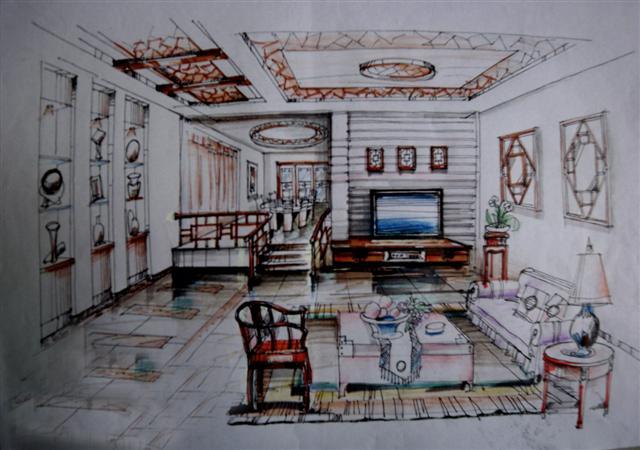 手绘室内休闲区方案设计(内空)