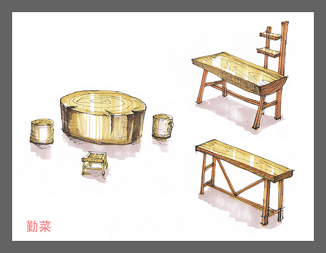 勤菜拙作——实木家具手绘图
