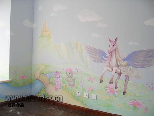 两个男宝宝可爱墙画