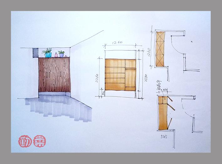 鞋柜设计手绘草图