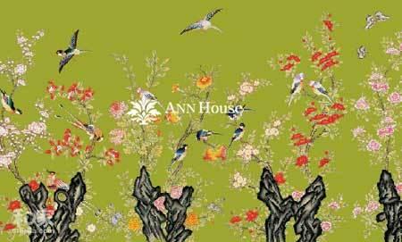 牡丹 喜鹊 等传统中国刺绣的图案的 壁纸 深图片