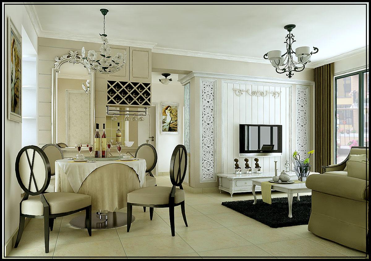 客厅吧台装修效果图 客厅吧台装修图片 客厅吧台设计图; 法式小屋图片