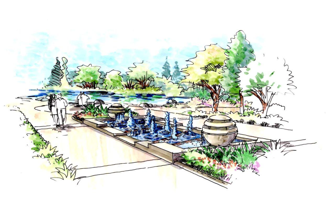 水榭春天园林手绘意向图
