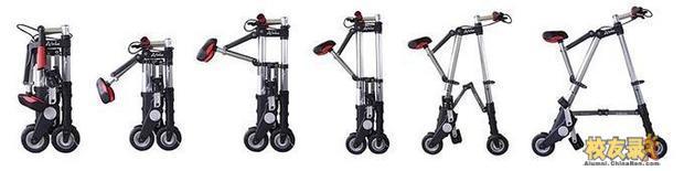 关于产品 产品名称: A-BIKE折叠自行车 型号/规格:ERT-015 (6寸免充气) 折叠尺寸:67*30*16cm 形状: 长方 展开尺寸:100*70*43cm 形状: A型 产品毛重/净重: 7.4kg/5.5kg 车架材质: 高聚合复合物,30%GF PA66; 热处理铝6061T6 传动比(双):14:8和35:9 轮胎尺寸: 15cm 气压: 90psi(磅/平方英尺) 最大载重: 85kgs 时速: 25km/h 座高范围: 82-90cm 配置:(车子+工具包+说明书+手提包) 又能锻