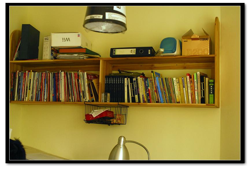 书房兼老公办公室,请木工做的书架