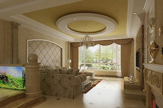 豪华的石膏线条描金,花型艺术壁纸墙面和艺术玻璃,欧式壁灯,在精确的