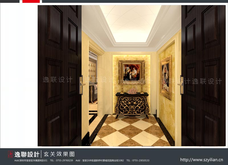 拱形造型天花将奢华欧式中融入一丝宫廷风,从结构设计上讲,它将狭长的