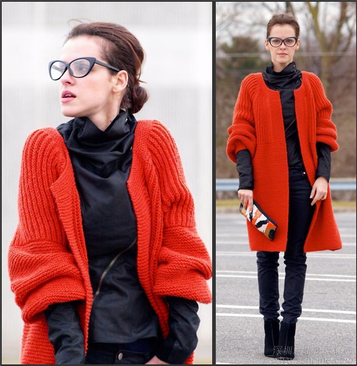 橘红色大衣搭配橘红色大毛衣的搭配红色毛衣外套橘红