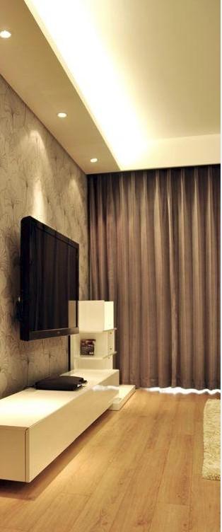 奶咖色墙面窗帘效果图