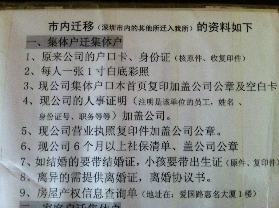 2012年深圳集体户口迁移(无房产)