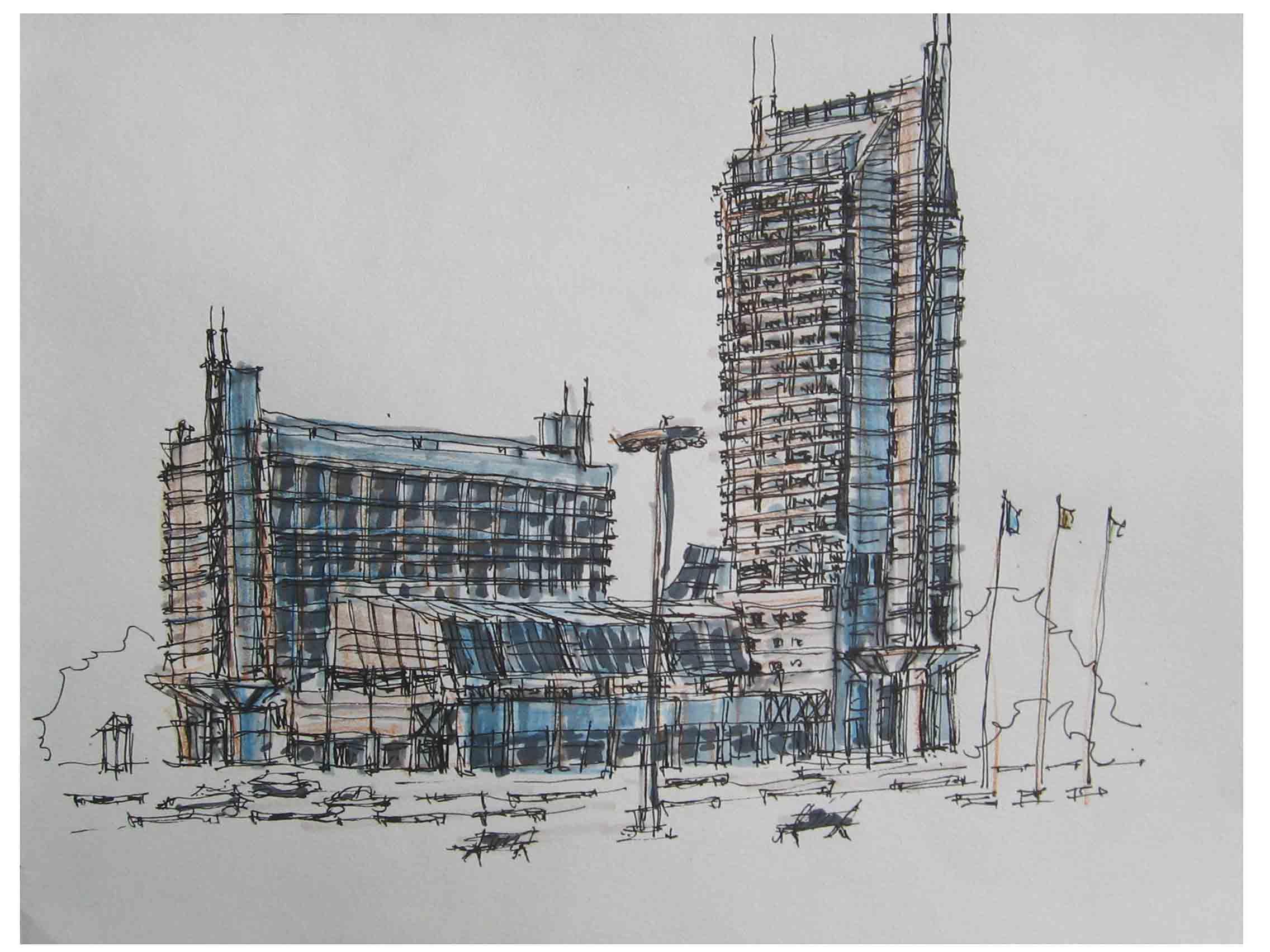 深圳南山手绘建筑画园林室内产品设计效果图培训
