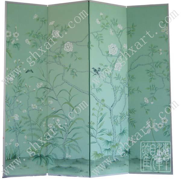 手绘丝绸墙纸 屏风