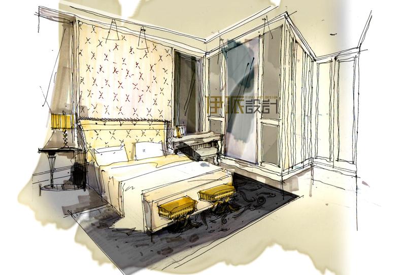 两点透视室内手绘图 客厅画法步骤
