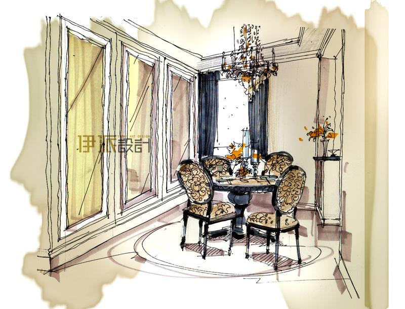 段文娟设计作品;                                       餐厅手绘图