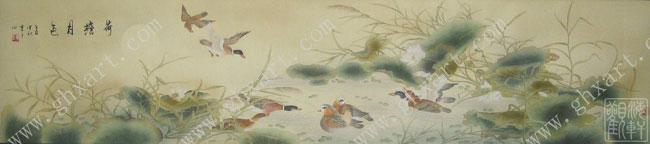 真丝手绘壁纸:选用优良的天然蚕丝,宣纸,传统国画颜料