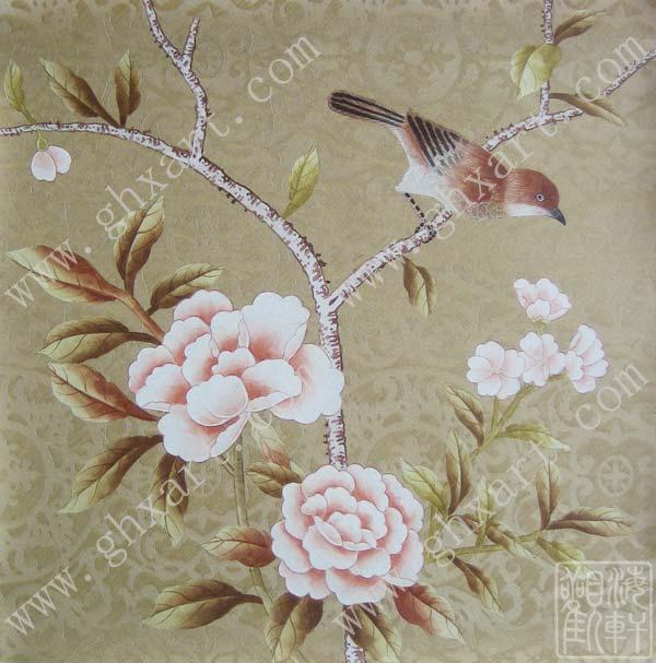 手绘丝绸壁纸直销