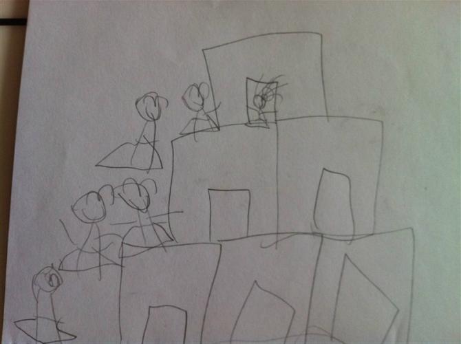 房子积木手绘图片