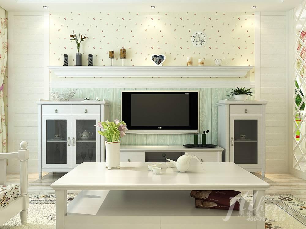 电视背景绿色护墙板与欧式线条