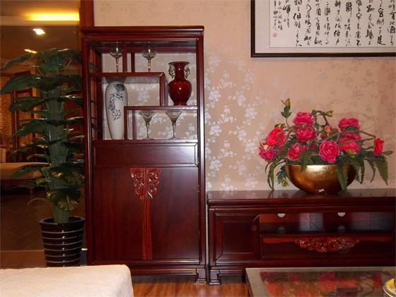 中式仿古实木沙发背柜图