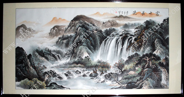 真丝手绘壁纸风景画--观海轩