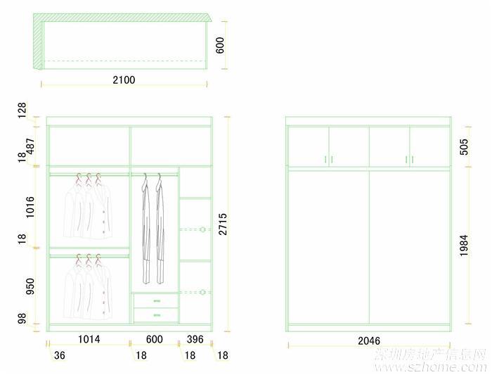 设计的主卧衣柜内部结构图;