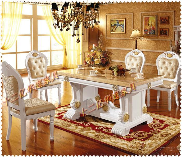 天然大理石实木餐桌 白色烤漆亮光餐桌