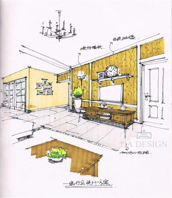 欧式客厅手绘图图片大全