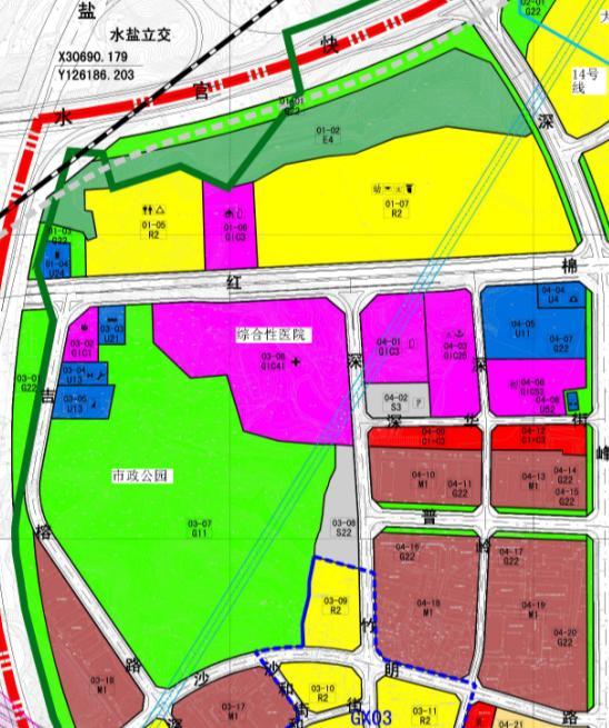 六约新村对面会建综合性医院,医院后面是一个市政公园