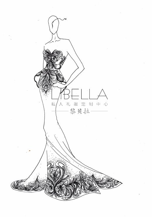 黎贝拉私人礼服婚纱手绘稿第二季!