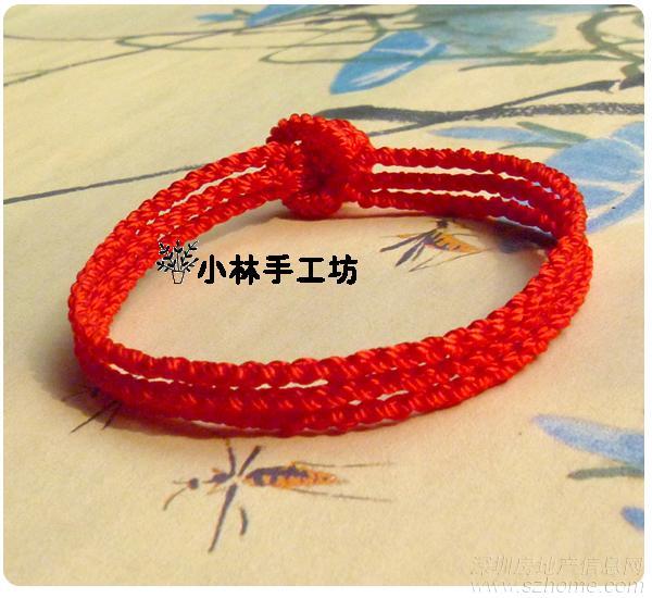 斜卷结 红绳宽手链 红玛瑙 手编手链 红绳手链图片