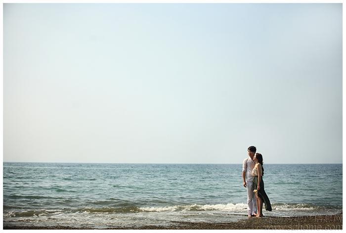 > 海边优雅的小清新婚纱照