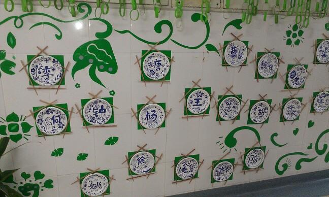 青花瓷花纹素材幼儿园主题墙
