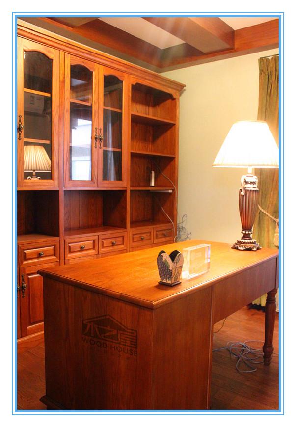 木之屋欧式书柜书桌一体