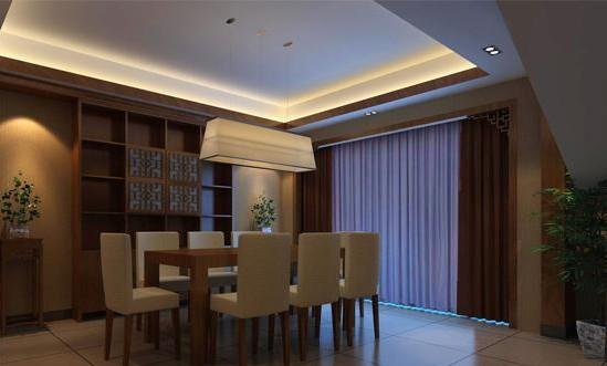 新中式餐厅吊顶装修效果图