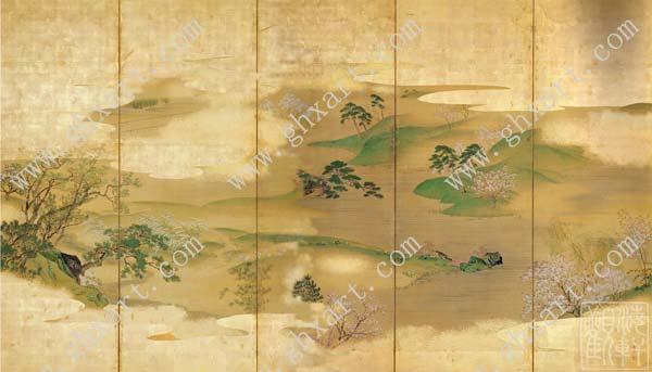 真丝手绘壁纸:选用优良的天然蚕丝,宣纸,传统国画颜料,经人工装裱